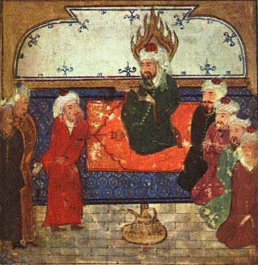 Persian picture of the Prophet Muhammad on his prayer rug